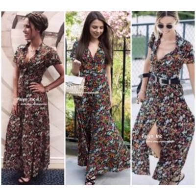 Maxi  ファッション ドレス LAST _NWT ZARA 2017 LONG FLORAL PRINT DRESS MAXI SHIRT FLOWING 2183/042 _XS S