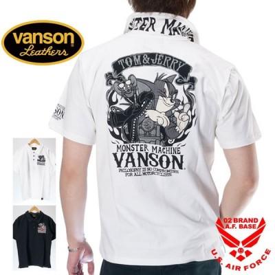 バンソン トムとジェリーコラボ バイカーズロゴ刺繍 ベア天竺 半袖ポロシャツ メンズ 新作2020年モデル VANSON Tom & Jerry tjv-2008