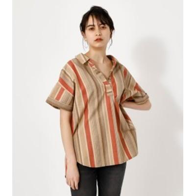 【62%OFF】 AFRICAN STRIPE LOOSE SHIRT/アフリカンストライプルーズシャツ WOMENSレディース
