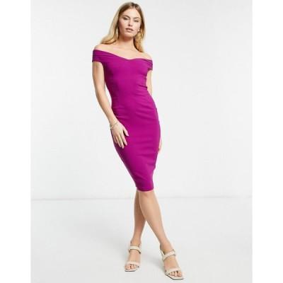 ベスパー ミディドレス レディース Vesper bardot pencil midi dress in Magenta  エイソス ASOS sale ピンク