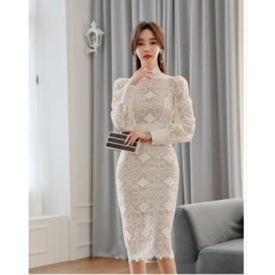 ひざ丈ワンピース レースドレス 30代 40代 タイトワンピース パーティードレス お出かけ キャバドレス 韓国風 大人ワンピ 結婚式 二次会