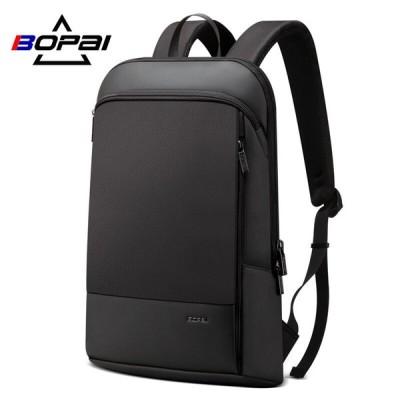 BOPAI スリムノートパソコンのバックパック 男性 15.6 インチ男性のバックパック ビジネスバッグ ユニセックス黒超軽量バックパック 薄型バッ