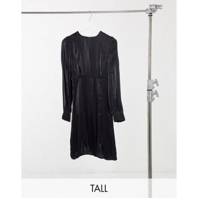 ワイ エー エス Y.A.S Tall レディース ワンピース ミニ丈 ワンピース・ドレス Y.A.S. Tall Shine silky lace trim mini dress in black ブラック