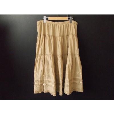 #apc ピンクハウス PINKHOUSE スカート ベージュ フリル リボン 大きいサイズ レディース [624129]