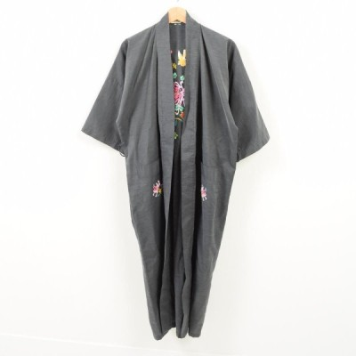 60's 花柄刺繍 コットンガウン フリーサイズ /wak8823