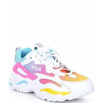 フィラ レディース スニーカー シューズ Women's Ray Tracer Rainbow Ombre Chunky Sneakers White/Lemon/Blue Topaz