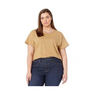 Madewell レディース 女性用 ファッション Tシャツ Plus Size Whisper Cotton Rib Crew Neck Ringer Tee in Stripe - Faded Earth
