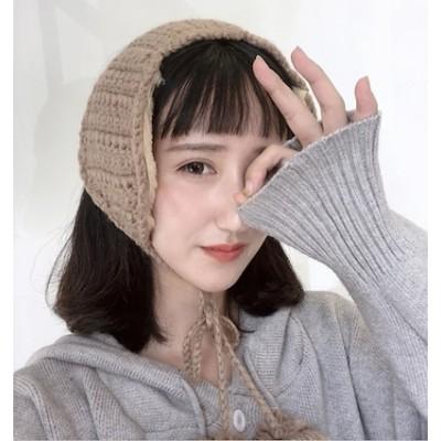 新しいインレトロウールイヤーマフの韓国版かわいいソフトガールレースイヤーウォーマーシックな秋と冬の暖かいニットイヤーマフ