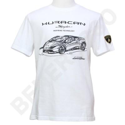 ランボルギーニ メンズ ウラカン スパイダー エンブロイダード Tシャツ ホワイト 9011547CCW017