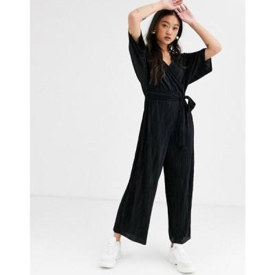 エイソス ASOS DESIGN レディース オールインワン ワンピース・ドレス plisse wrap tie jumpsuit Black