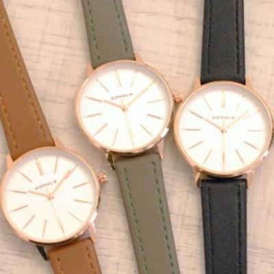 送料無料 シンプルデザインレザーウォッチ 腕時計 ブラウン グレー ブラック ファッションウォッチ レディース
