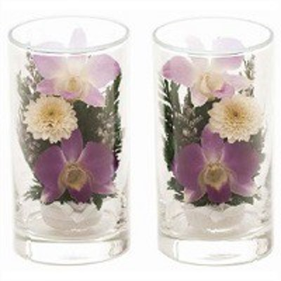 枯れません経済的なきれいな仏花【送料無料】ボトルフラワー ツインセット 自然の花を丁寧に加工しています D0001 枯れない花 仏壇 お彼