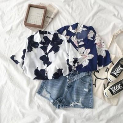 夏新作 花柄 半袖シャツ アロハシャツ フラワープリント ビッグシルエット オーバーサイズ ゆったりトップス ブラウス レディース リゾー