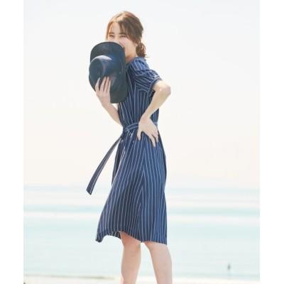 J.PRESS/ジェイプレス 【洗える】キュプラストライプ ワンピース ネイビー系1 11