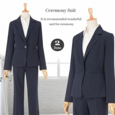 高品質 パンツスーツ ストライプ オフィス 通勤 就活 面接 リクルート 卒業式 入学式 入園式 卒園式