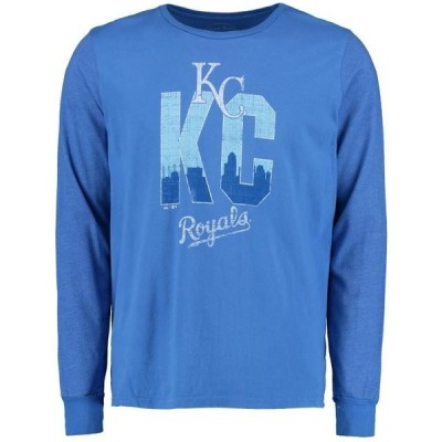 ユニセックス スポーツリーグ メジャーリーグ Kansas City Royals Majestic Threads Skyline Tri-Blend Long Sleeve T-Shirt - Royal