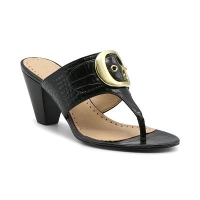 アドリアンヌヴィッタディーニ サンダル シューズ レディース Women's Polka Mid-Heel Thong Sandals Black Croc