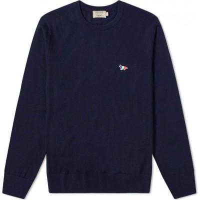 メゾン キツネ Maison Kitsune メンズ ニット・セーター トリコロール トップス Tricolour Fox Patch Crew Knit Navy