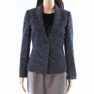 Tahari タハリ ファッション 衣類 Tahari by ASL NEW Blue Womens 0P Petite Textured One-Button Jacket