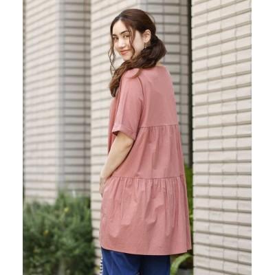 【エウルキューブ】 バックティアードチュニック レディース ピンク LL eur3( 大きいサイズ)