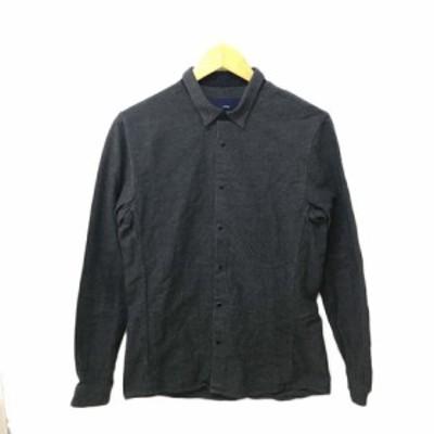 【中古】マクティグ maktig シャツ ネルシャツ スタンダード スナップボタン 無地 長袖 36 グレー メンズ