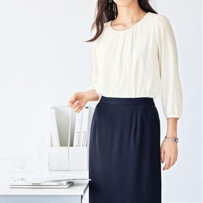 オフィス用ブラウス(7分袖)(洗濯機OK・吸湿発熱機能裏地付き)/オフホワイト/S