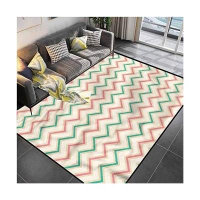 "Area Rug Print Large Rug Mat Chevron,Vintage Insignia Carpet for Living Playing Dorm Room Bedroom 4'7""x5'2""並行輸入品"