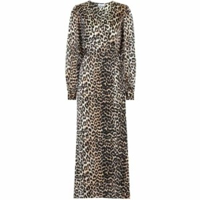 ガニー Ganni レディース ワンピース ワンピース・ドレス Leopard-printed stretch-silk dress Leopard
