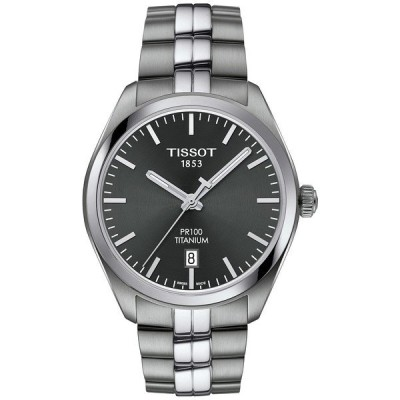 ティソット 腕時計 アクセサリー レディース Men's Swiss PR100 Titanium Bracelet Watch 39mm Silver