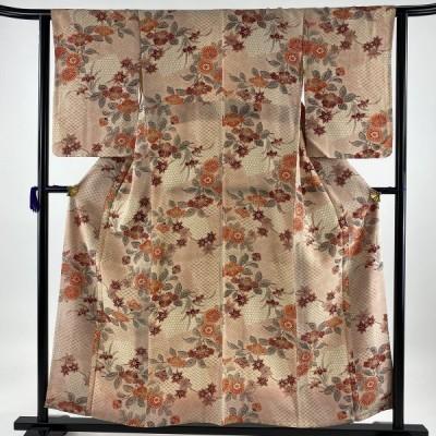 小紋 優品 椿 菊 薄オレンジ 袷 身丈156cm 裄丈63cm S 正絹 中古