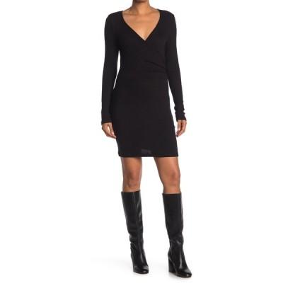 アールディスタイル レディース ワンピース トップス Surplice Neck Long Sleeve Dress BLACK