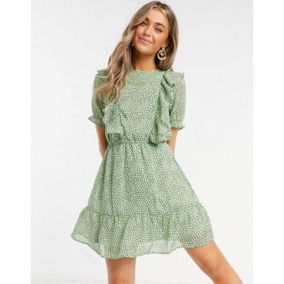 インフルエンス レディース ワンピース トップス Influence ruffle bib mini dress in mint polka dot Mint