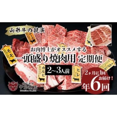 FY20-786 【定期便6回】山形牛の競演 一頭盛り焼肉用2~3人前 お肉博士がオススメする7種盛り定期便