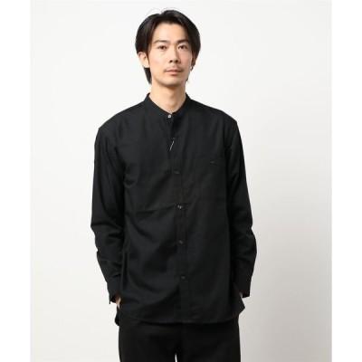 シャツ ブラウス T/Rバンドカラーシャツ