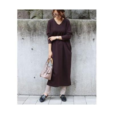 カットソーVネックロングワンピース (ワンピース)Dress