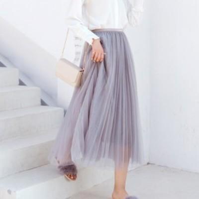プリーツチュールロングスカート(ライトグレー ゴールドウエストライン) 春夏 かわいい