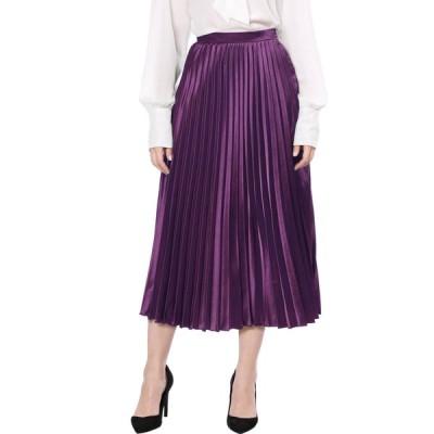 uxcell Allegra K プリーツスカート アコーディオンスカート ハイウエスト メタリック ロングスカート ウェストゴム パープル XS