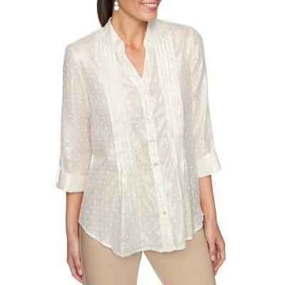 ルビーロード レディース シャツ トップス Petite Size Shimmer Metallic Stripe Clip Dot Roll-Tab Sleeve Button Front Top Linen White