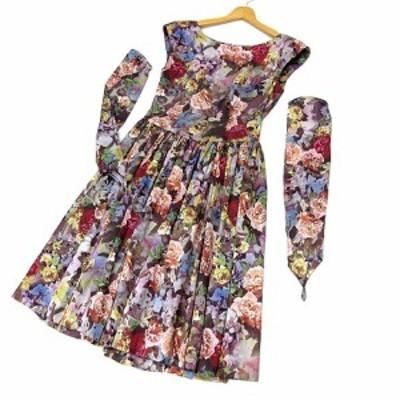 【中古】サントネージュ SAINTE NEIGE ドレス ワンピース 薔薇 ローズ 転写プリント アームカバー付き 9 レディース