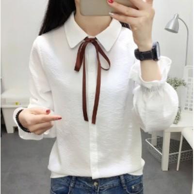 ベルスリーブリボンシャツ レディースファッション通販 長袖シャツ 白 ホワイト ブルー ブルーグレー ピンク グリーン ストライプ シンプ