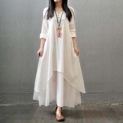 ファッショナブルな女性偽の2ピースロングスリーブルーズロングドレス大きなスカートヘムラインギフト