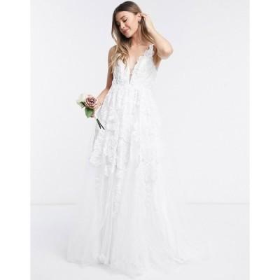 エイソス レディース ワンピース トップス ASOS EDITION Celia beaded floral embroidered mesh wedding dress Ivory