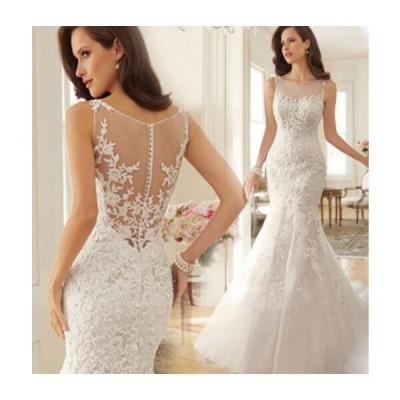 !トレーンウェディングドレス ゴージャスな花嫁ドレス ロングレースマーメイドドレス 結婚式披露宴パーティードレス 旅行写真撮影専用ドレス