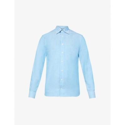 イートン ETON メンズ シャツ トップス Slim-fit cotton and linen-blend shirt Green