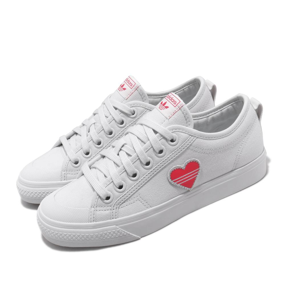ADIDAS 休閒鞋 Nizza Trefoil W 復古 女鞋 愛迪達 三葉草 愛心 情人節 球鞋穿搭 白 粉 [EF5074]