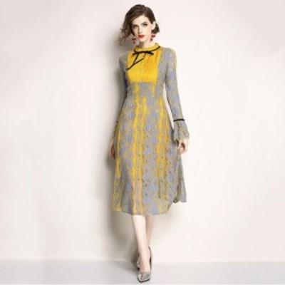 結婚式ドレス パーティードレス イエローにグレーのフラワーレースをレイヤードした上品で華やかなロングAラインパーティードレス a0591