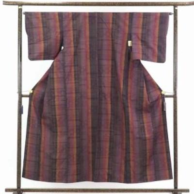 【中古】リサイクル着物 紬 / 正絹茶色地縦縞袷真綿紬着物 / レディース【裄Mサイズ】