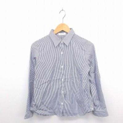 【中古】フレームワーク Framework シャツ ブラウス ステンカラー ストライプ 薄手 綿 長袖 紫 白 パープル ホワイト