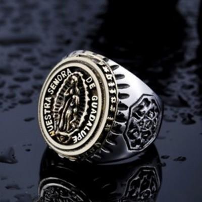 リング メンズ 聖母 マリア ルード系 指輪 グアダルーペ メキシコ ビンテージ ステンレス メキシコ メンズアクセサリー