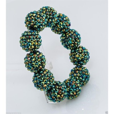 ブレスレット ケネスジェイレーン Kenneth Jay Lane green pave ball stretch bracelet